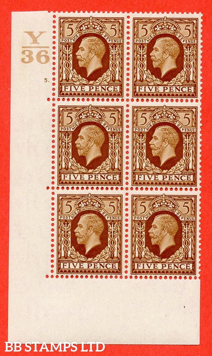 SG. 446. N59. 5d Yellow-Brown. A Superb UNMOUNTED mint block of 6. Control Y36. Cylinder 5 dot perf type 5 E/I.