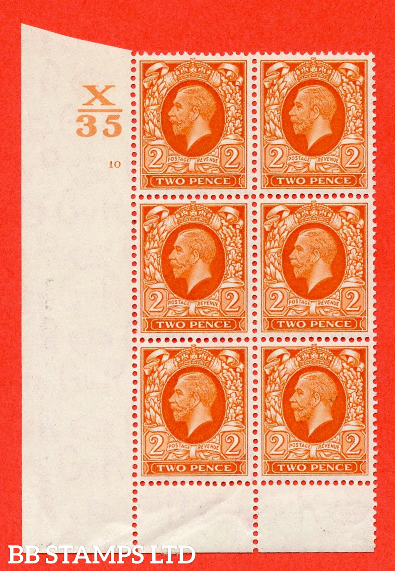 """SG. 442. N55. 2d. Orange. A fine lightly mounted mint """" Control X35 cylinder 10 no dot """" control block of 6 with perf type 6 I/P."""