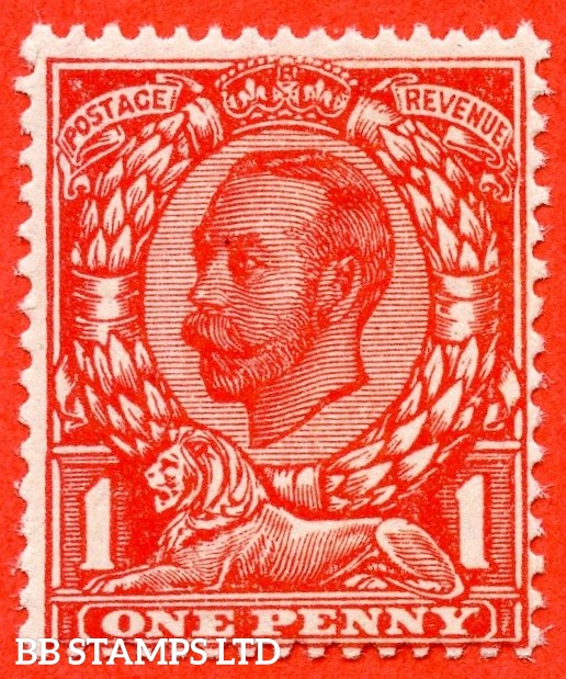 """SG. 345 a. Variety N12 (2) e. 1d Bright Scarlet ( VERY BRIGHT SHADE ). Die 2. A fine UNMOUNTED MINT example with the """" NO CROSS ON CROWN variety."""