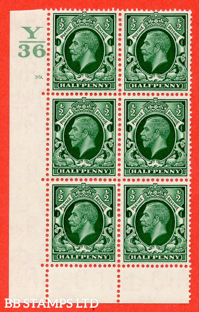 """SG. 439 N47 ½d. Green. A fine lightly mounted mint """" Control Y36 cylinder 39 dot """" control block of 6 with perf type 6B E/P"""