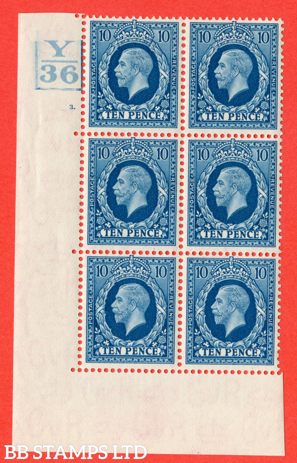 SG. 448. N61. 10d Turquoise-Blue. A very fine mounted mint block of 6. 3 Bars. Control Y36. Cylinder 3 dot perf type 5 E/I.