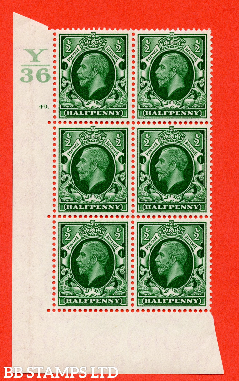"""SG. 439 N47 ½d. Green. A superb unmounted mint """" Control Y36 cylinder 49 dot """" control block of 6 with perf type 5 E/I"""