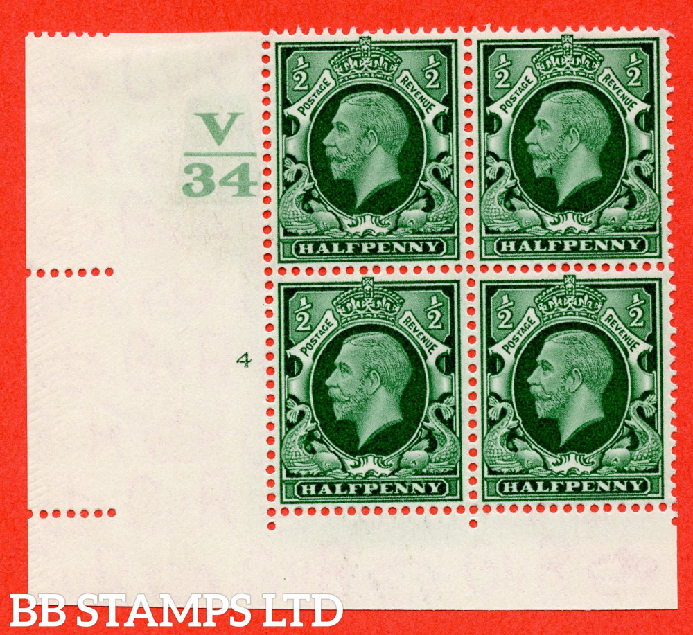 """SG. 439 variety N46 ½d. Green. A very fine mounted mint """" Control V34 cylinder 4 no dot """" control block of 4 with perf type 2 I/E"""