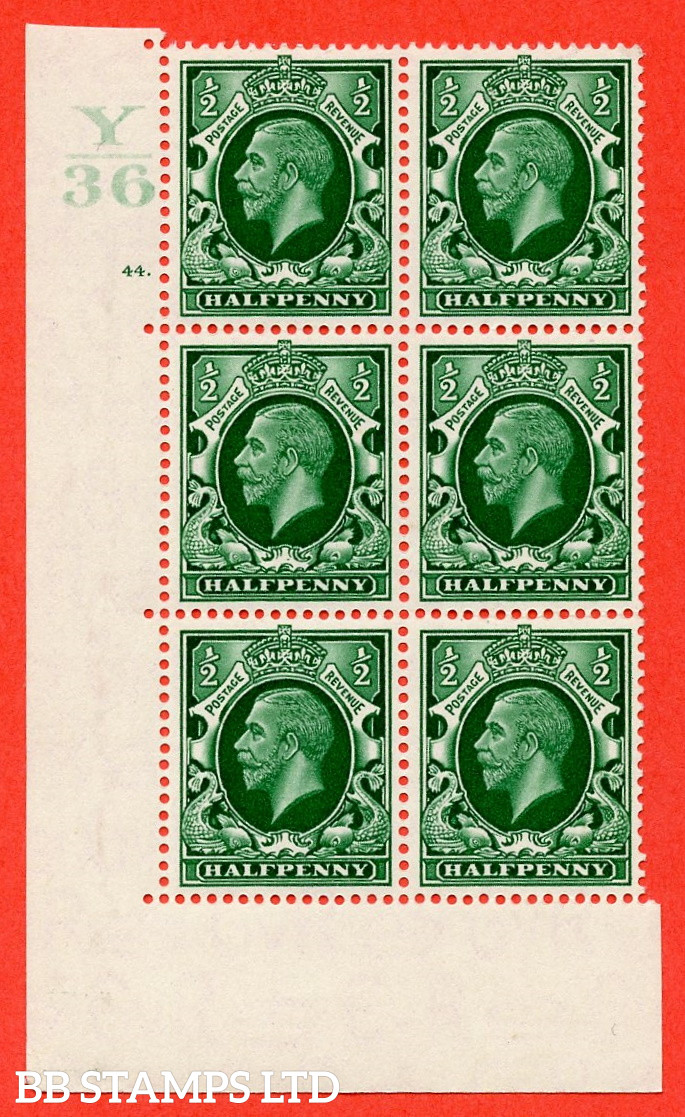 """SG. 439 N47 ½d. Green. A superb unmounted mint """" Control Y36 cylinder 44 dot """" control block of 6 with perf type 5 E/I"""