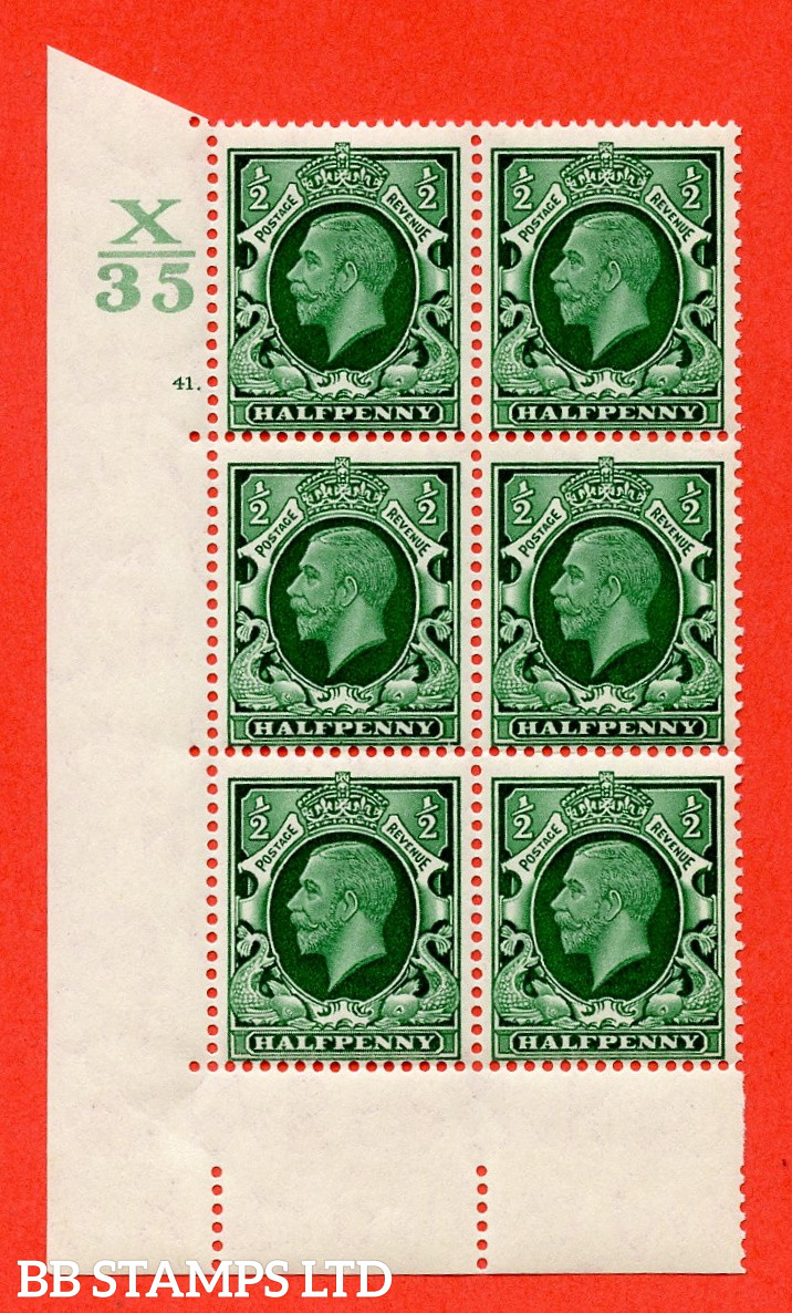 """SG. 439 N47 ½d. Green. A superb unmounted mint """" Control X35 cylinder 41 dot """" control block of 6 with perf type 5 E/I"""