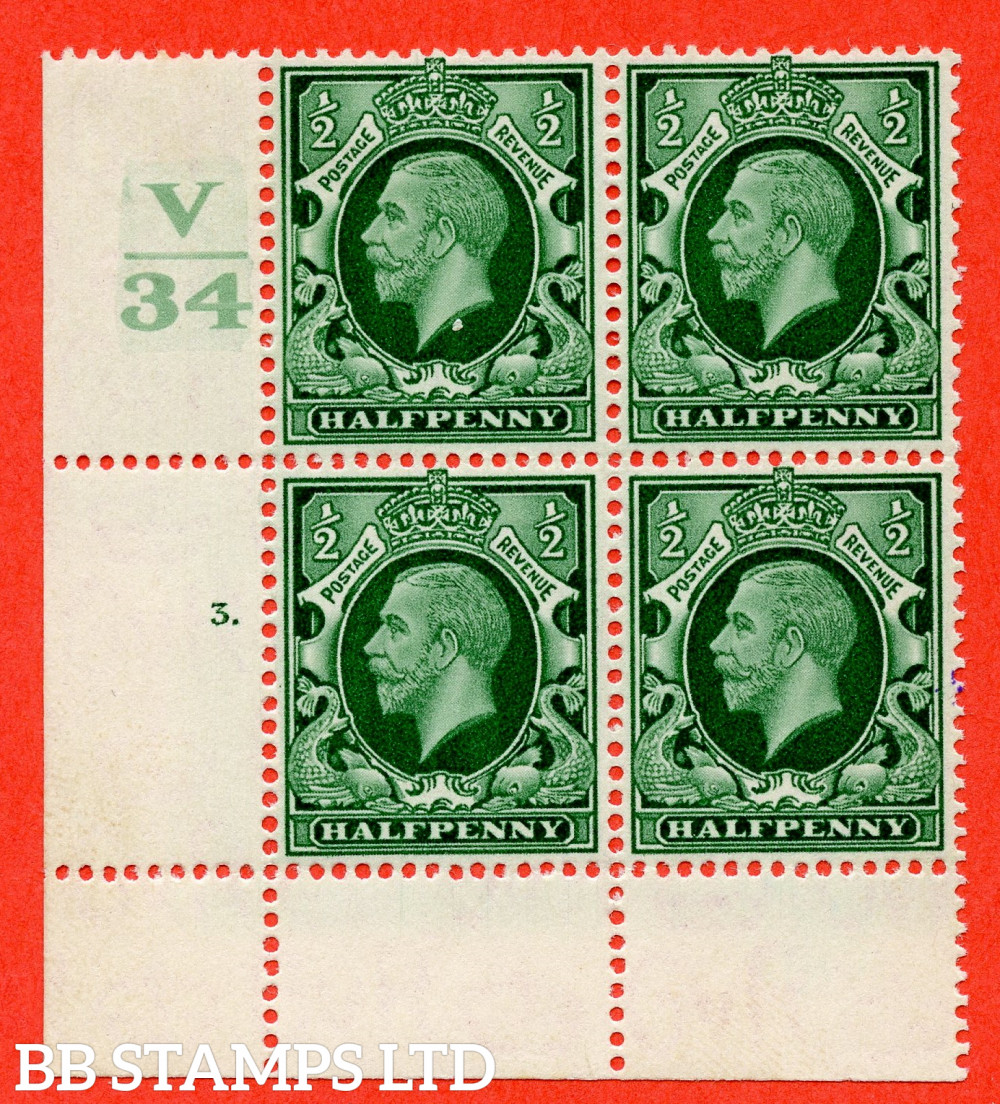 """SG. 439 variety N46 ½d. Green. A fine lightly mounted mint """" Control V34 cylinder 3 dot """" control block of 4 with perf type 2A P/P"""