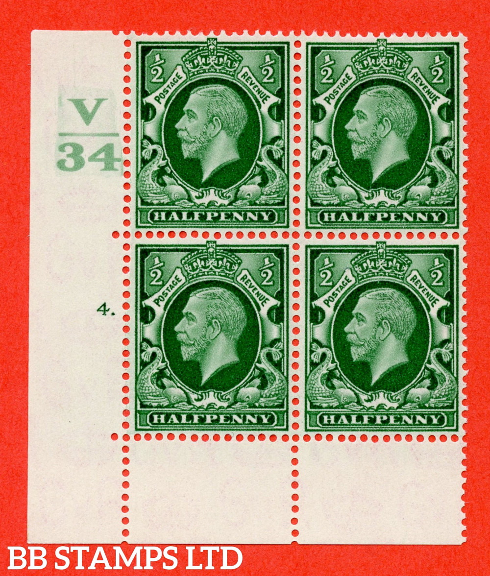 """SG. 439 variety N46 ½d. Green. A fine lightly mounted mint """" Control V34 cylinder 4 dot """" control block of 4 with perf type 6B E/P"""