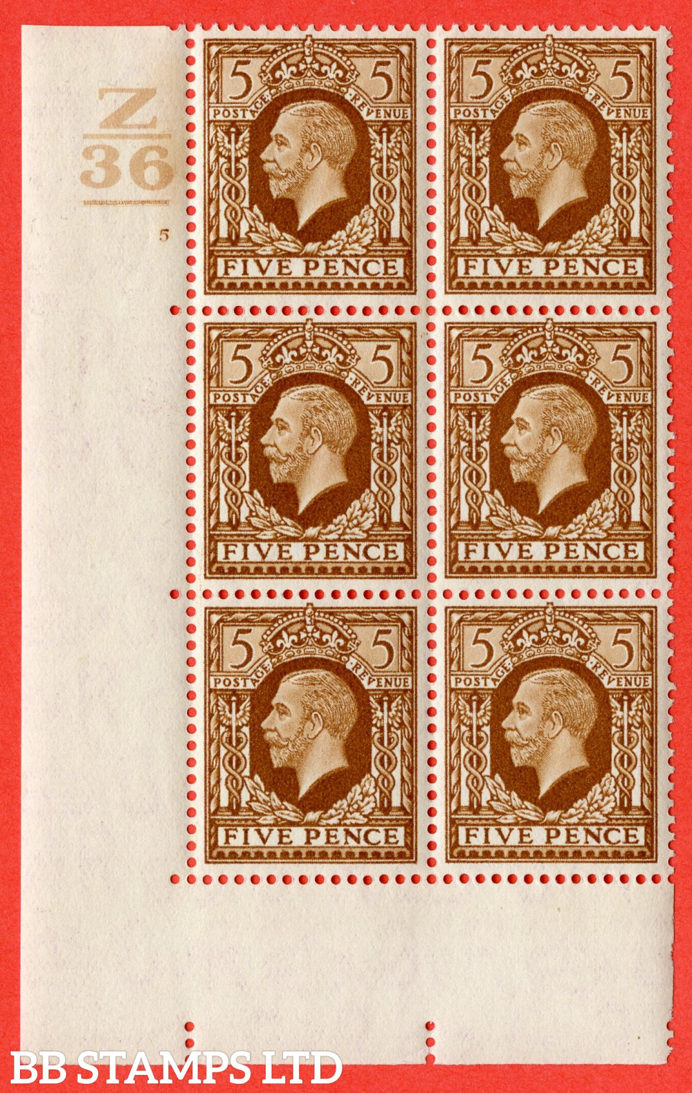 """SG. 446. N59. 5d Yellow-Brown. A fine lightly mounted mint """" Control Z36 Bar. Cylinder 5 no dot """" block of 6 perf type 5 E/I"""