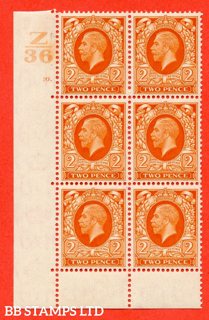 SG. 442. N55. 2d Orange. A fine lightly mounted mint block of 6. Control Z36. Cylinder 10 dot perf type 6B E/P