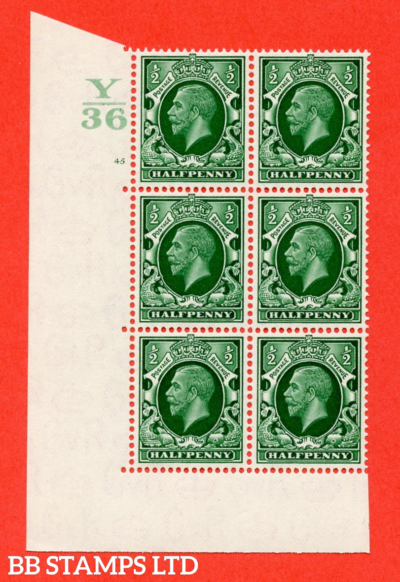 """SG. 439 N47 ½d. Green. A superb unmounted mint """" Control Y36 cylinder 45 no dot """" control block of 6 with perf type 5 E/I"""
