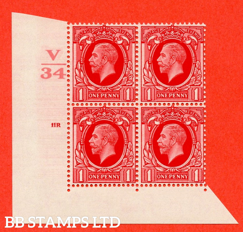 """SG. 440 variety N48 1d Scarlet. A superb UNMOUNTED MINT """" Control V34 cylinder 11R no dot """" control block of 4 with perf type 2 I/E"""