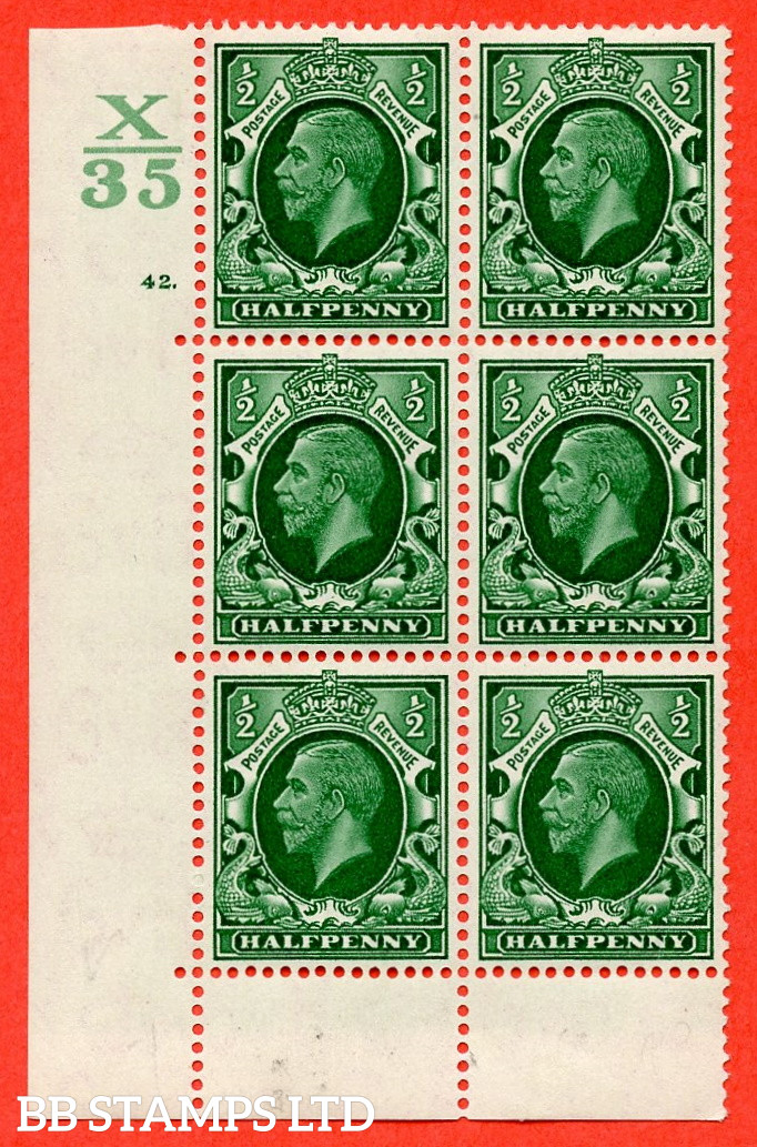 """SG. 439 N47 ½d. Green. A superb UNMOUNTED MINT """" Control X35 cylinder 42 dot """" control block of 6 with perf type 6B E/P"""
