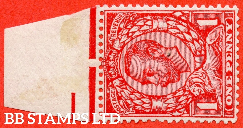 SG. 350 c. N13 (1) d. 1d Scarlet. WATERMARK SIDEWAYS. A very fine UNMOUNTED MINT top marginal example of this scarce Downey variety.