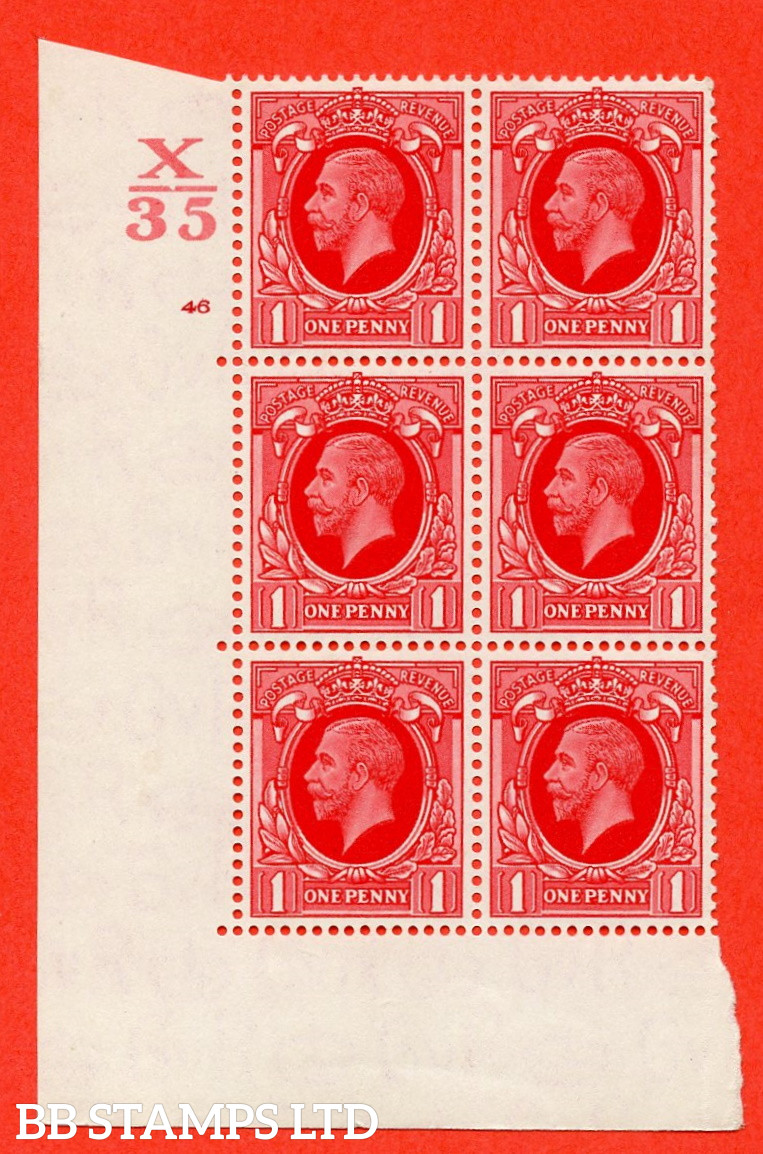 """SG. 440 N50 1d. Scarlet.. A superb unmounted mint """" Control X35 cylinder 46 no dot """" control block of 6 with perf type 5 E/I"""