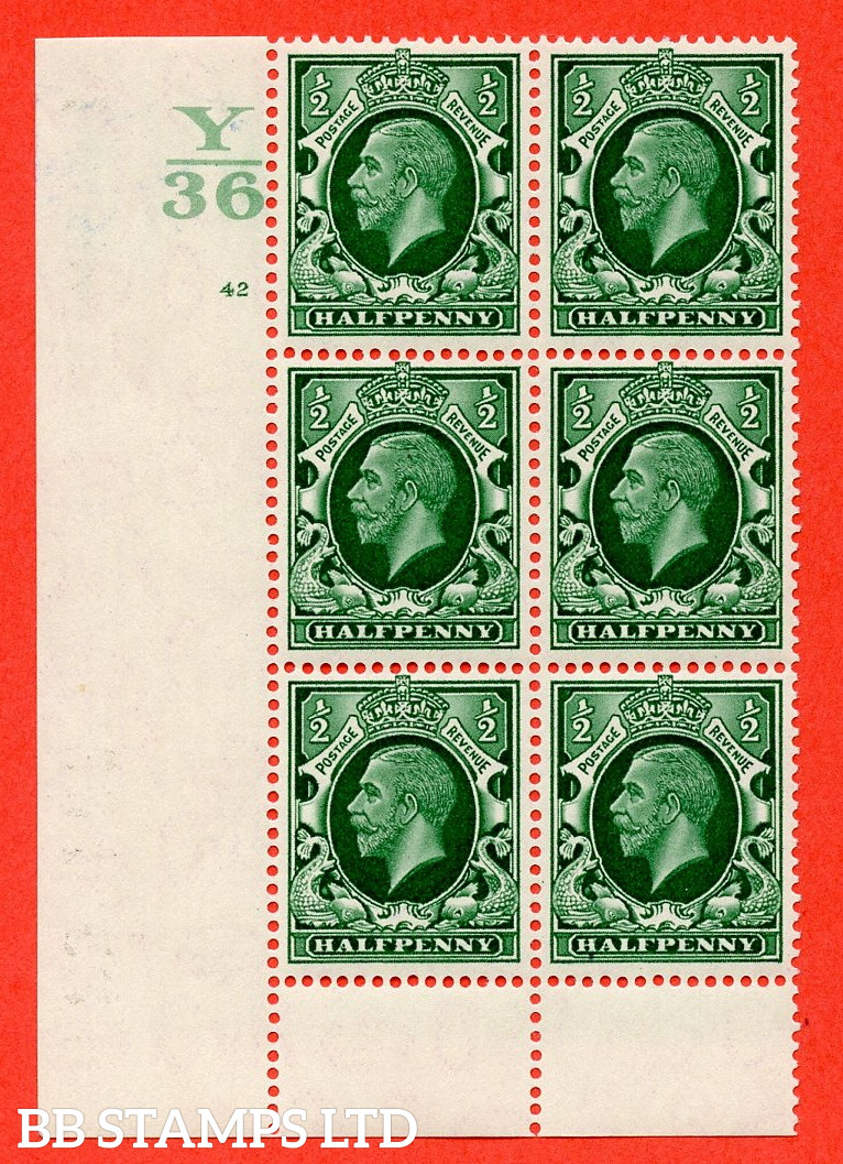 """SG. 439 N47 ½d. Green. A fine lightly mounted mint """" Control Y36 cylinder 42 no dot """" control block of 6 with perf type 6 I/P"""