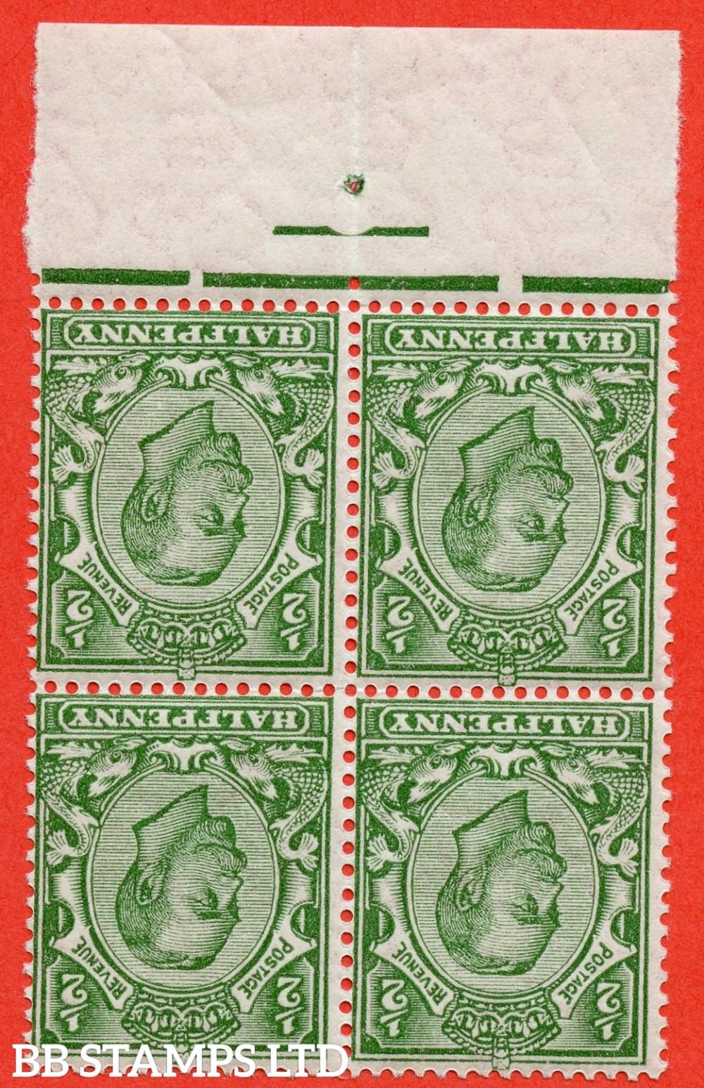SG. 346wk. N6 (1)c. ½d green. INVERTED & REVERSED WATERMARK.  A super UNMOUNTED MINT bottom marginal block of 4.