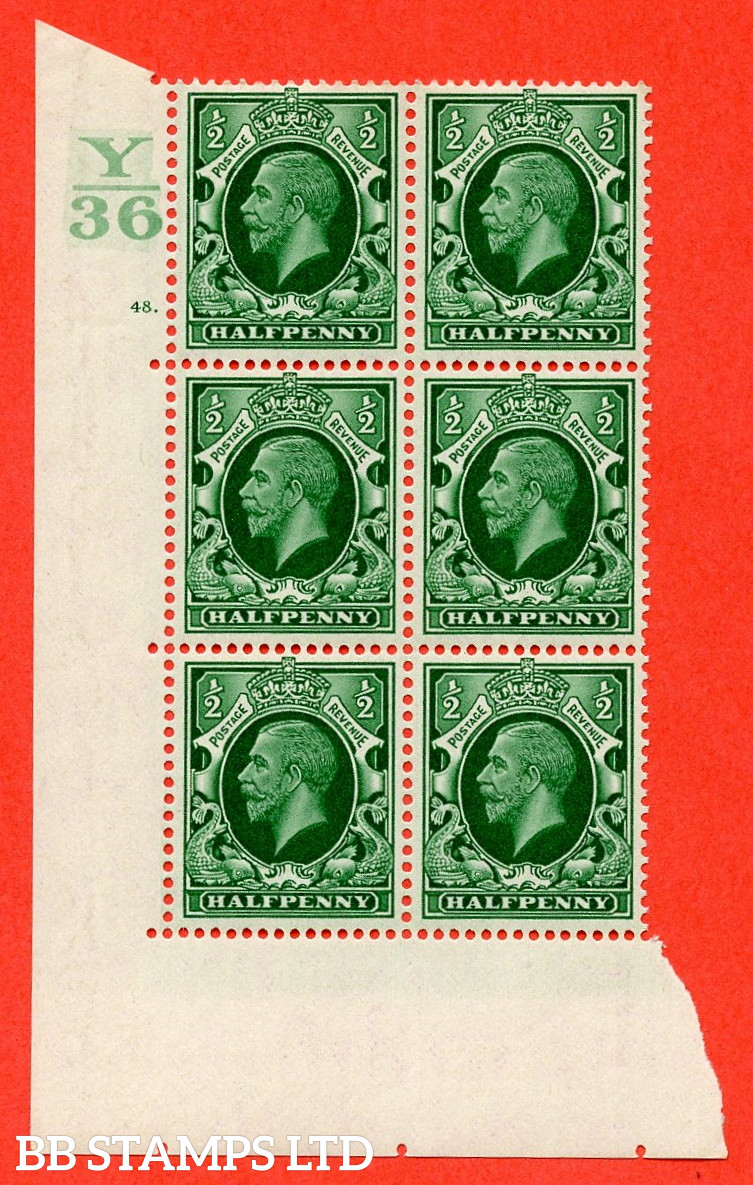 """SG. 439 N47 ½d. Green. A superb unmounted mint """" Control Y36 cylinder 48 dot """" control block of 6 with perf type 5 E/I"""