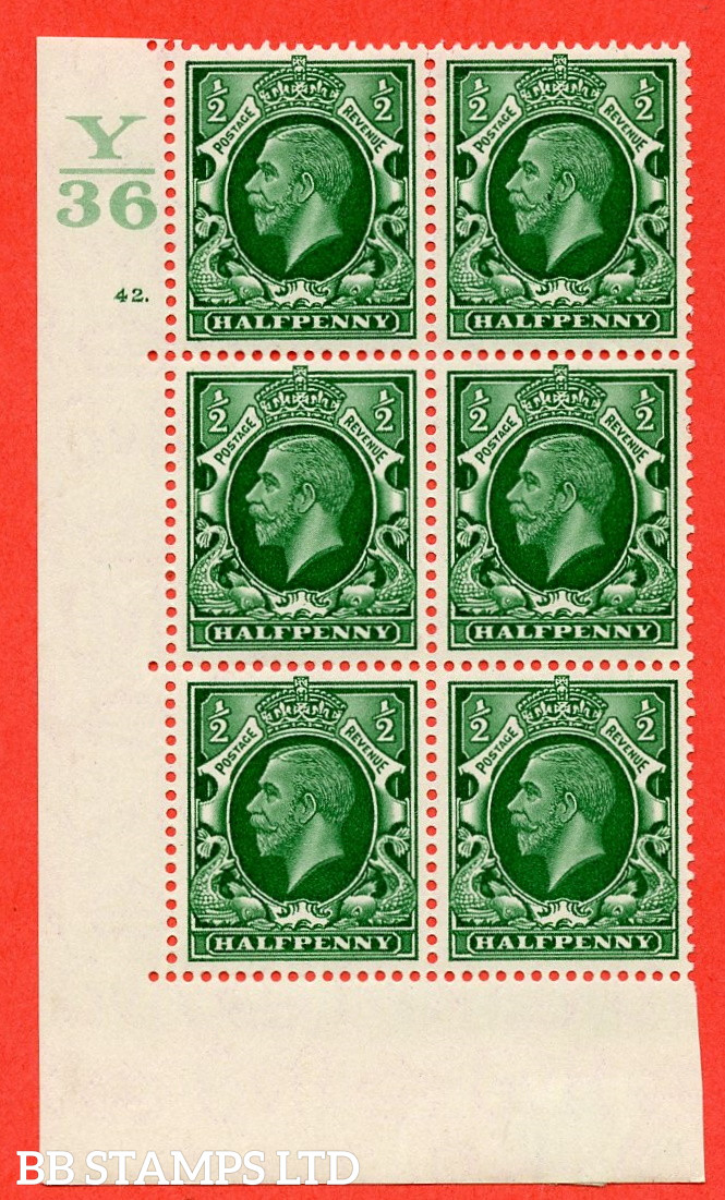 """SG. 439 N47 ½d. Green. A fine lightly mounted mint """" Control Y36 cylinder 42 dot """" control block of 6 with perf type 5 E/I"""
