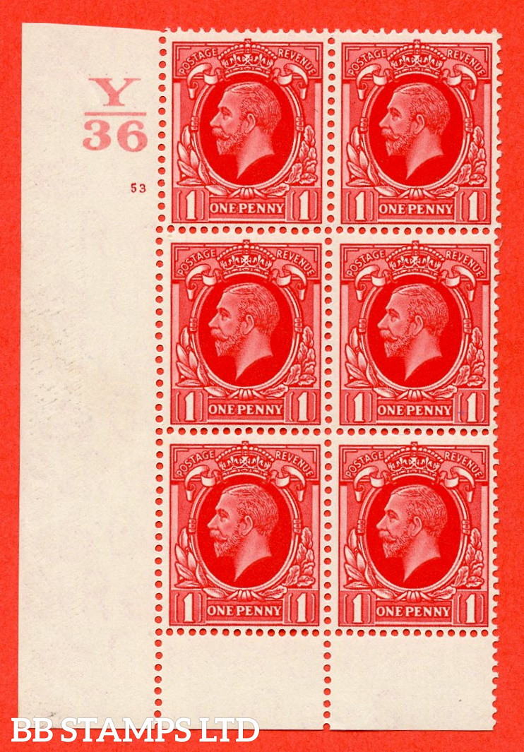 """SG. 440. N50 1d. Scarlet. A superb unmounted mint """" Control Y36 cylinder 53 no dot """" control block of 6 with perf type 6 I/P"""