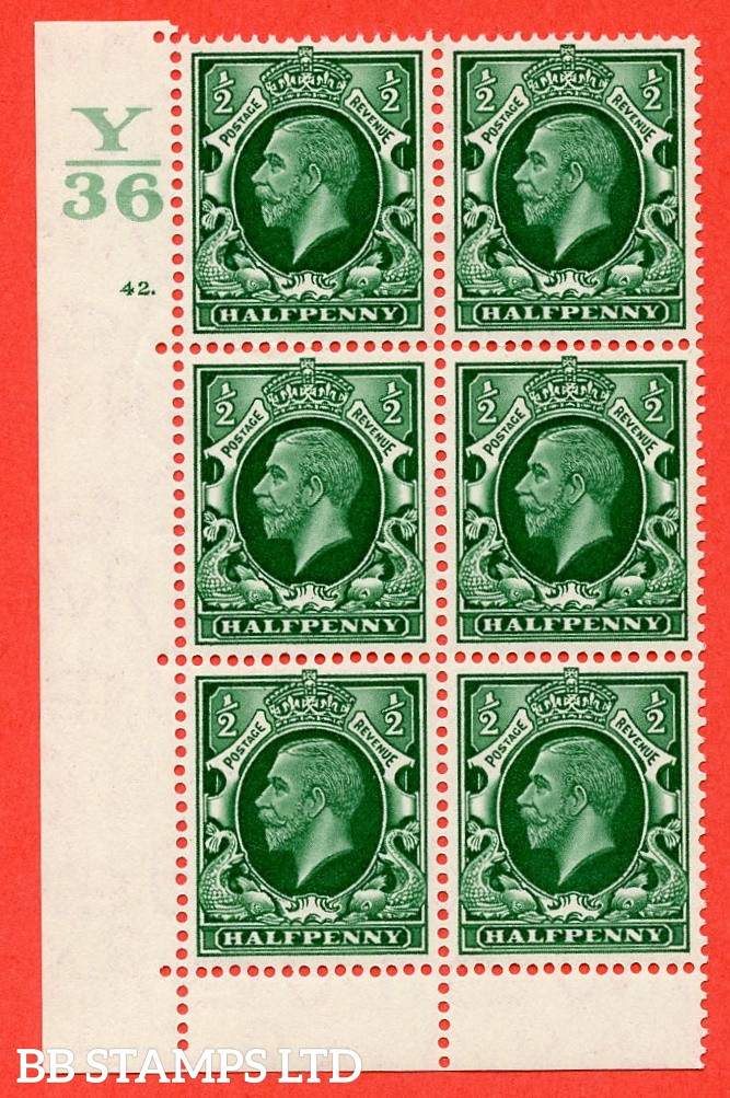 """SG. 439 N47 ½d. Green. A superb unmounted mint """" Control Y36 cylinder 42 dot """" control block of 6 with perf type 6B E/P"""