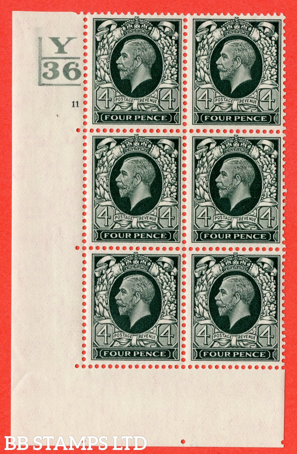 SG. 445. N58. 4d Grey-Green. A fine mounted mint block of 6. Control Y36. 2 Bars. Cylinder 11 no dot perf type 5 E/I.