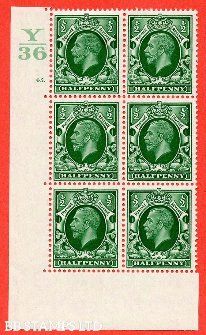 """SG. 439 N47 ½d. Green. A fine lightly mounted mint """" Control Y36 cylinder 45 dot """" control block of 6 with perf type 5 E/I"""