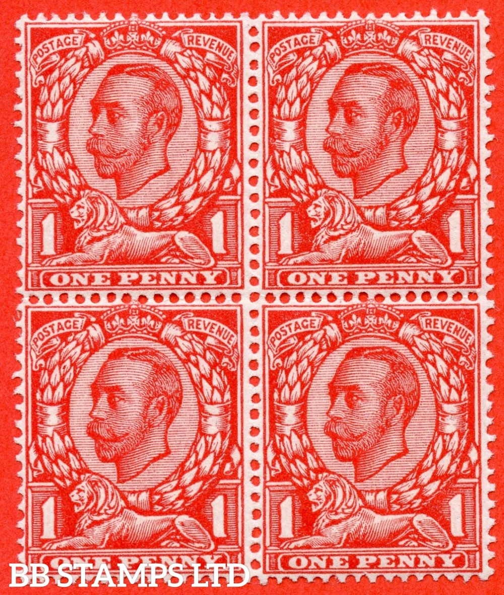 "SG. 343a. N11(5) d. 1d Aniline scarlet. Die 2. "" NO CROSS ON CROWN "" A very fine UNMOUNTED MINT block of 4 with the upper right hand corner stamp clearly showing this RARE George V variety."
