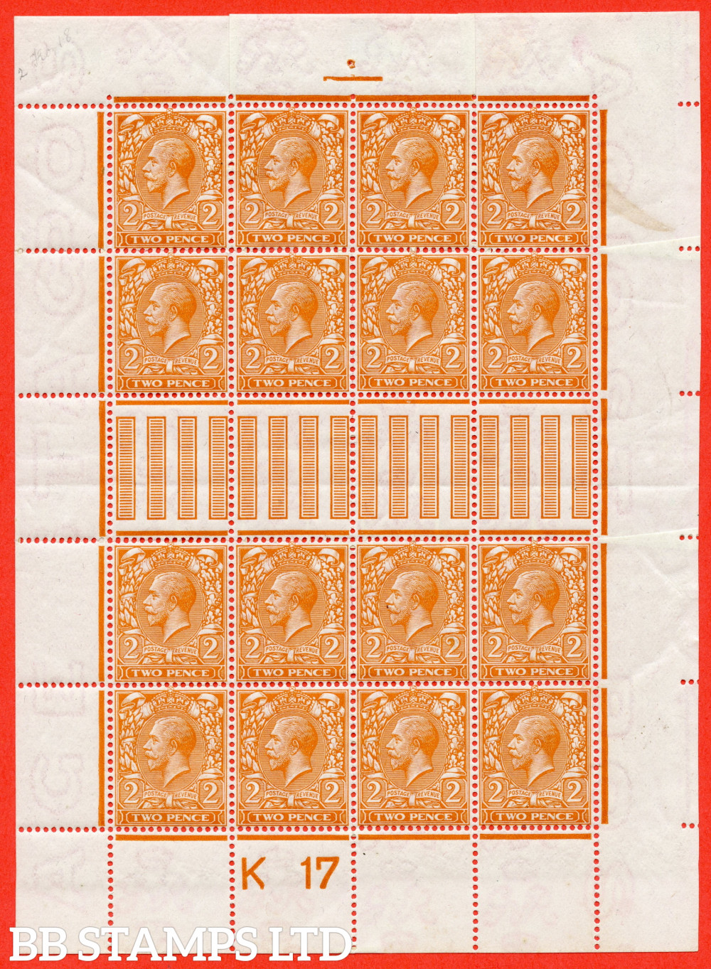 """SG. 368. N19 (5). 2d Orange. Die 1. A fine mounted mint control """" K17 perf """" made up mini sheet to resemble a complete sheet. A nice addition to any GV collection"""