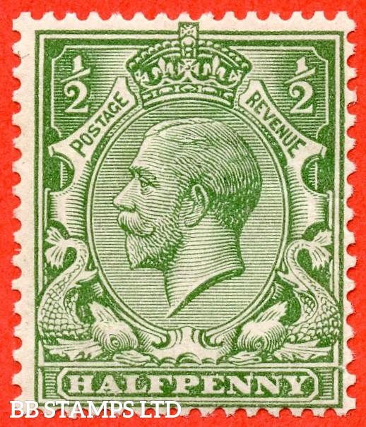 SG. 353 variety N14 ( UNLISTED ). ½d pale dull green. A very fine mounted mint example of this known but unlisted by SG George V shade variety. Complete with Hendon certificate.