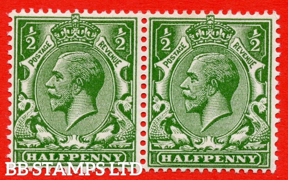 SG. 354 variety N14 ( UNLISTED ) zg. ½d very deep yellow green. MISSING CROWN & VR IN WATERMARK. A very fine UNMOUNTED MINT pair of this known but unlisted by SG George V shade variety. Complete with Hendon certificate.