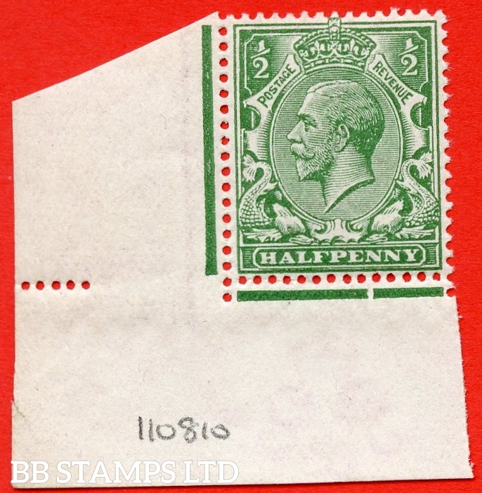 SG. 351. N14 (1). ½d Green. A super UNMOUNTED MINT bottom left hand corner marginal example complete with RPS certificate which is excellent for reference.