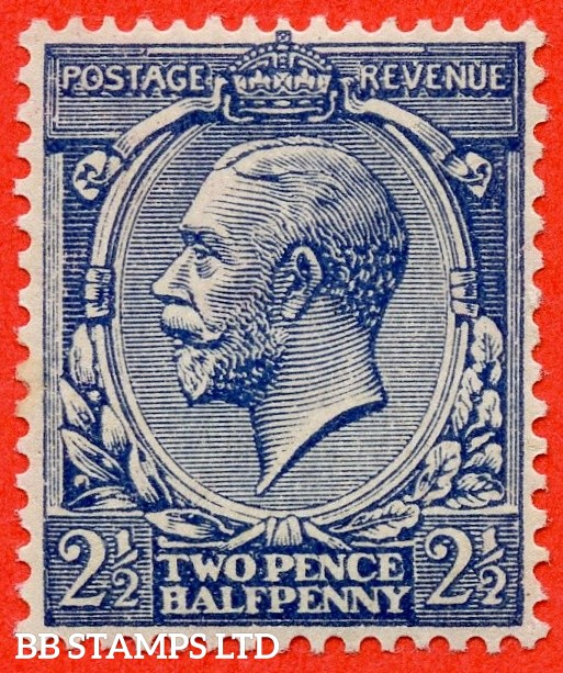 "SG. 373 variety N21 (15). 2½d Indigo Blue ( toned paper ). An UNMOUNTED MINT example of this VERY RARE George V shade. Complete with RPS certificate which states "" toned spots "" ????. Priced as mounted mint."
