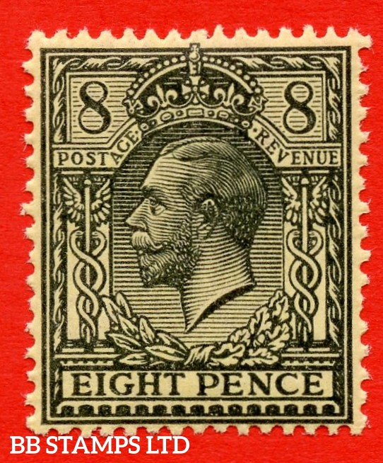 SG. 390 variety N28 ( UNLISTED ). 8d GREY BLACK ON YELLOW. A fine UNMOUNTED MINT example of this known but unlisted by SG. Shade variety. Complete with Hendon certificate.