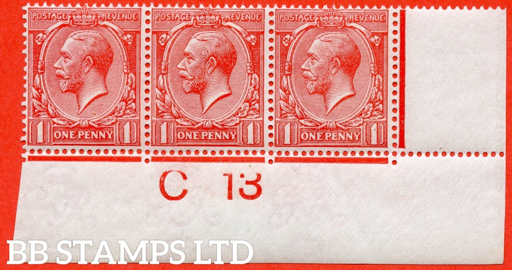 """SG. 360 variety N16 (UNLISTED). 1d bright rose carmine. A fine UNMOUNTED MINT control """" C13 imperf """" strip of 3 of this known but unlisted by SG. Shade variety. Complete with Hendon certificate."""