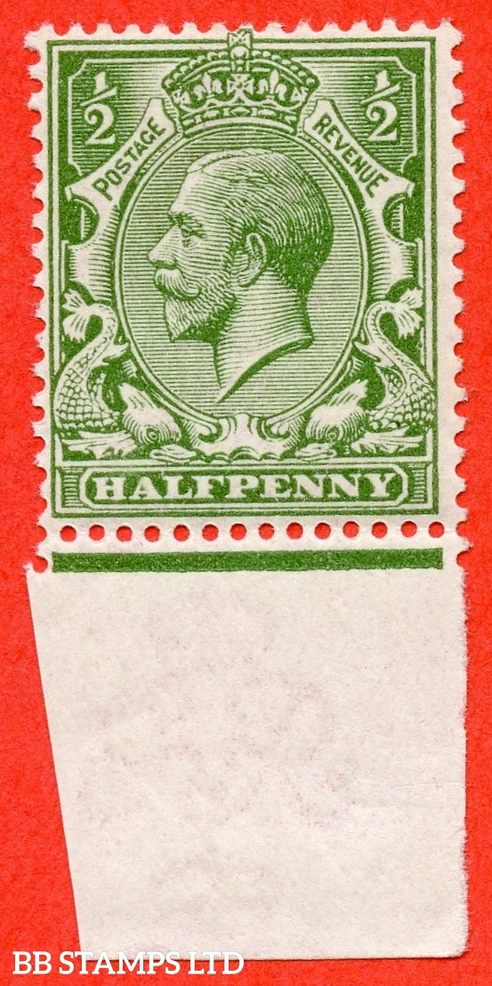 SG. 354 variety N14 (13). ½d Pale Olive Green. A very fine UNMOUNTED MINT bottom marginal example complete with RPS certificate.
