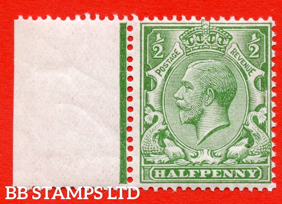 SG. 352 variety N14 ( UNLISTED ). ½d pale bright green. A very fine UNMOUNTED MINT left hand marginal example of this known but unlisted by SG George V shade variety. Complete with Hendon certificate.