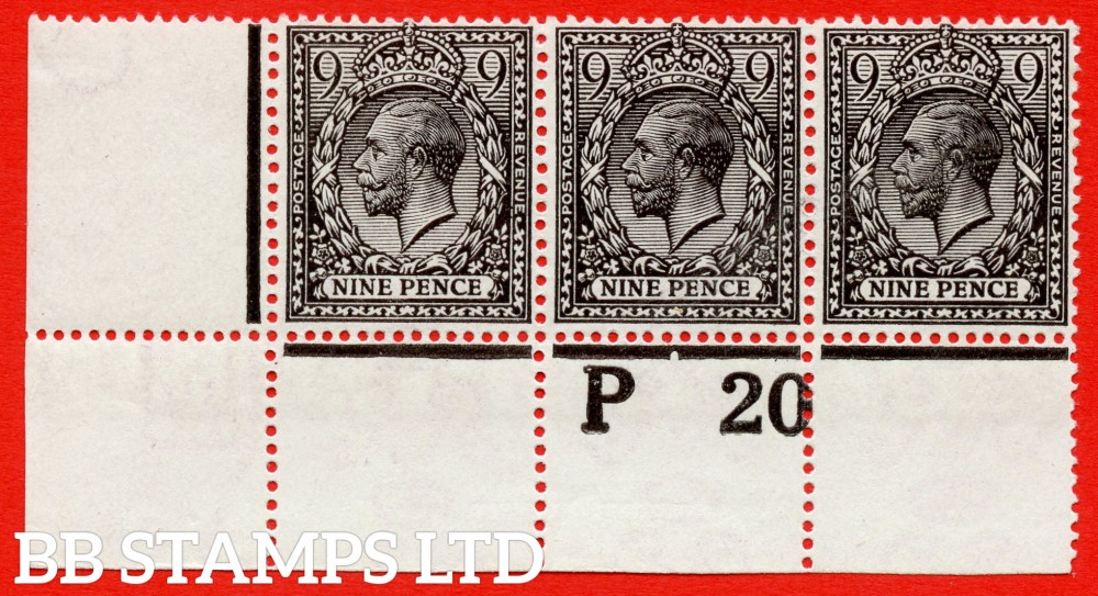 "SG. 392 variety N29 ( UNLISTED ). 9d grey black. A fine mounted mint control "" P20 perf "" strip of 3 of this known but unlisted by SG. George V shade variety. Complete with Hendon certificate."