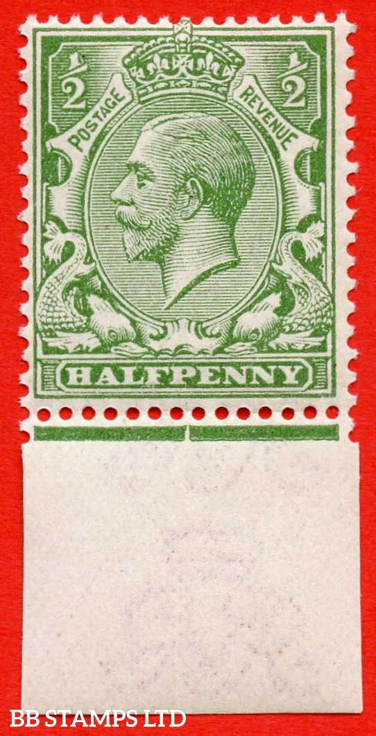 SG. 355 variety N14 ( UNLISTED ). ½d pale dull olive green. A very fine UNMOUNTED MINT bottom marginal example of this known but unlisted by SG George V shade variety. Complete with Hendon certificate.