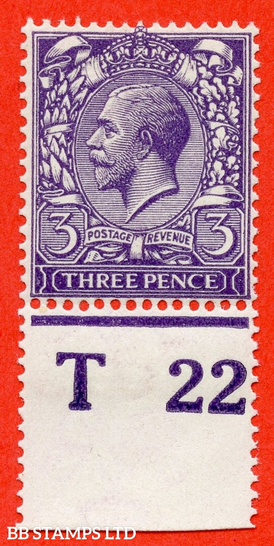 "SG. 376. Variety N22 (10). 3d Very Deep Violet. A fine UNMOUNTED MINT control "" T22 perf "" example complete with RPS certificate."