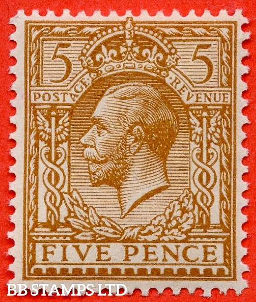 "SG. 382 a. Variety N25 (1) a. 5d Brown. A superb UNMOUNTED MINT example with the scarce variety "" NO WATERMARK ""."