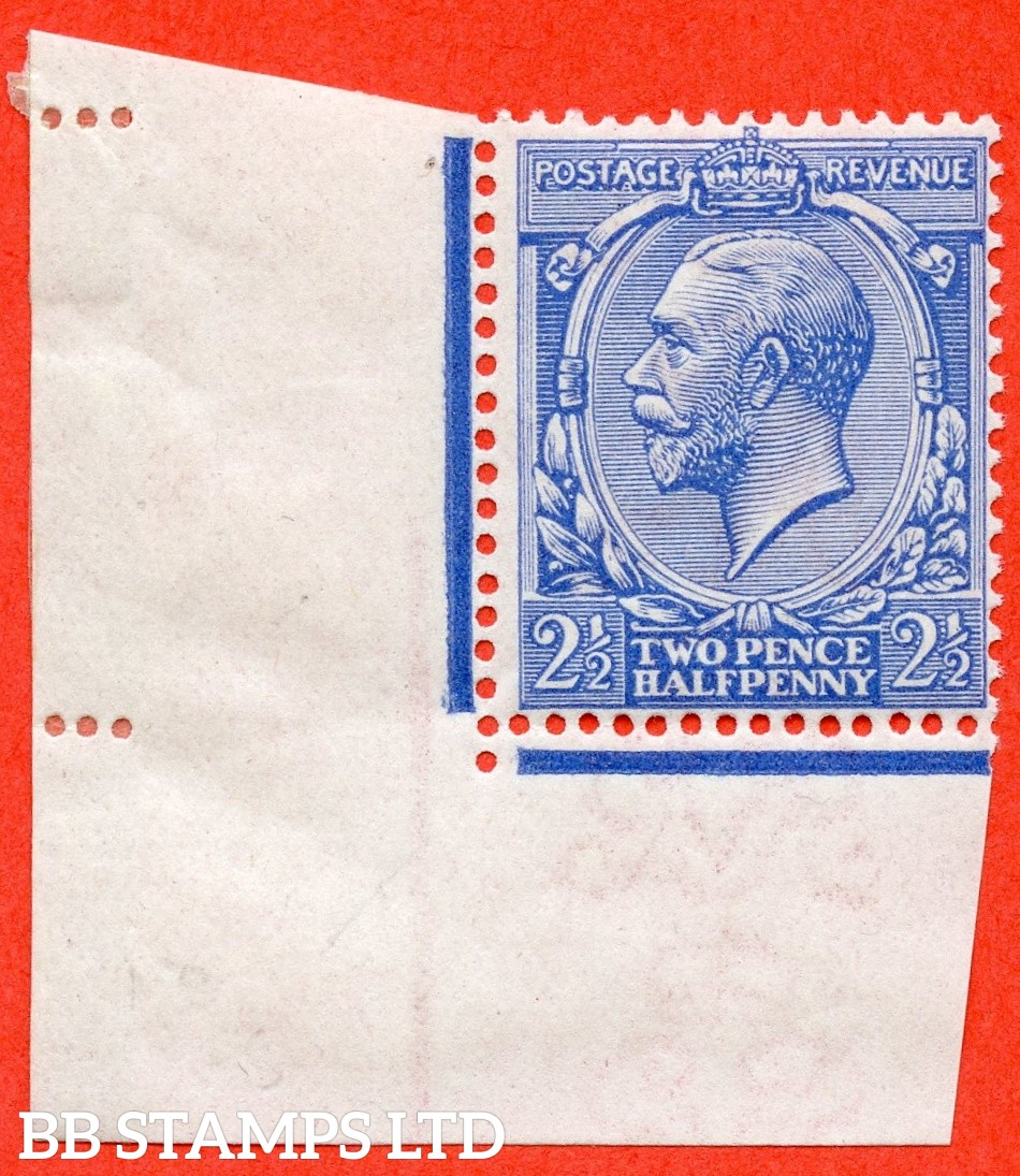 SG. 371 variety N21 (UNLISTED). 2½d pale cobalt violet blue. A fine UNMOUNTED MINT bottom left hand corner marginal example of this known but unlisted by SG. George V shade variety. Complete with Hendon certificate.
