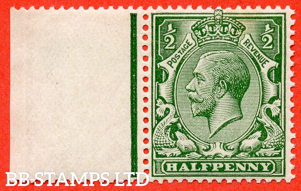 SG. 353 variety N14 (UNLISTED). ½d deep dull green. A fine UNMOUNTED MINT left hand marrginal example of this known but unlisted by SG George V shade variety complete with hendon certificate.