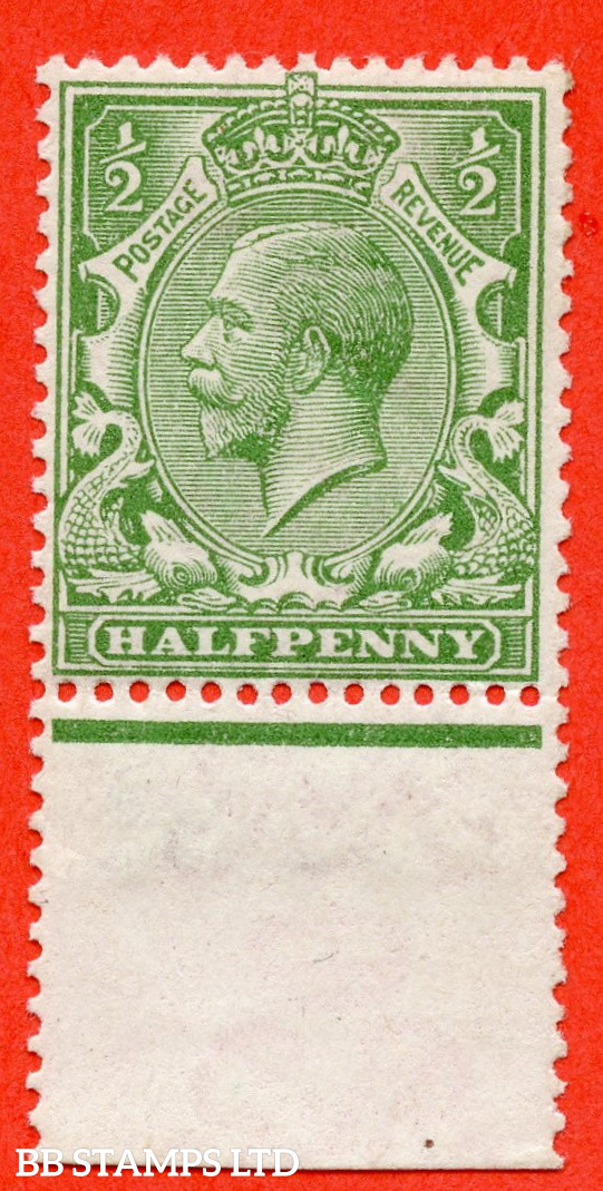 SG. 353 variety N14 (4). 1/2d Very Pale Green. A very fine UNMOUNTED MINT bottom marginal example of this scarce George V shade complete with RPS certificate.