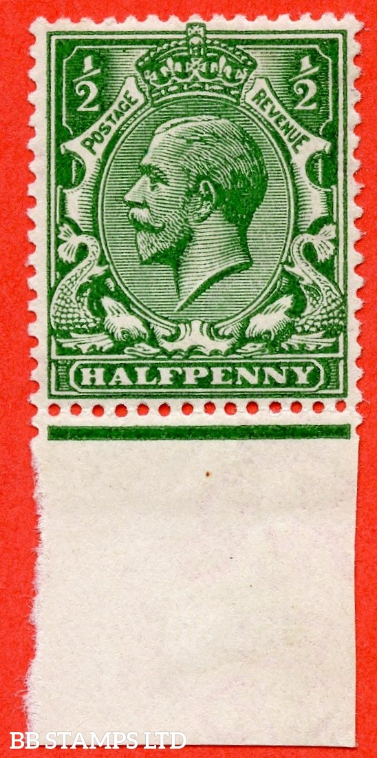 SG. 352 variety N14 (UNLISTED). ½d Very Deep Bright Green. An UNMOUNTED MINT bottom marginal example of this known but unlisted by SG. George V shade variety. Complete with Hendon certificate.