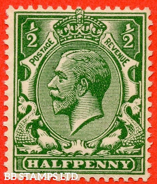 SG. 354 variety N14 (UNLISTED). ½d very deep dull yellow green. A mounted mint example of this known but unlisted by SG. George V shade variety complete with Hendon certificate. Toned but great for reference.