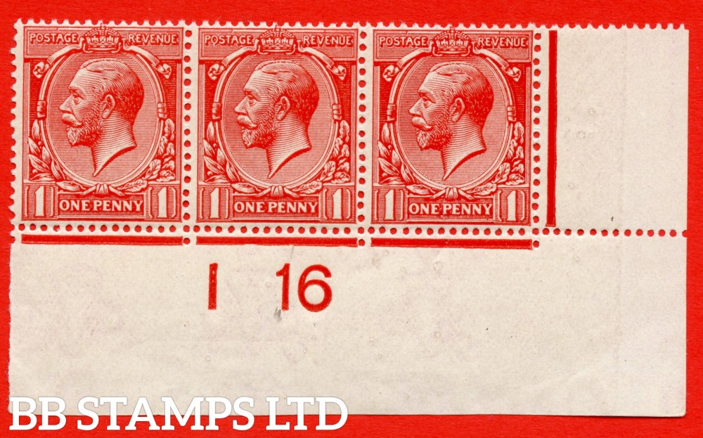 "SG. 357 variety N16 ( UNLISTED ). 1d DEEP bright brick red. A very fine totally UNMOUNTED MINT control "" I16 imperf "" strip of 3 of this known but unlisted by SG. George V shade variety. Complete with Hendon certificate."
