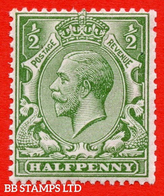 SG. 354 variety N14 ( UNLISTED ). ½d dull yellow green. A very fine UNMOUNTED MINT example of this known but unlisted by SG George V shade variety. Complete with Hendon certificate.