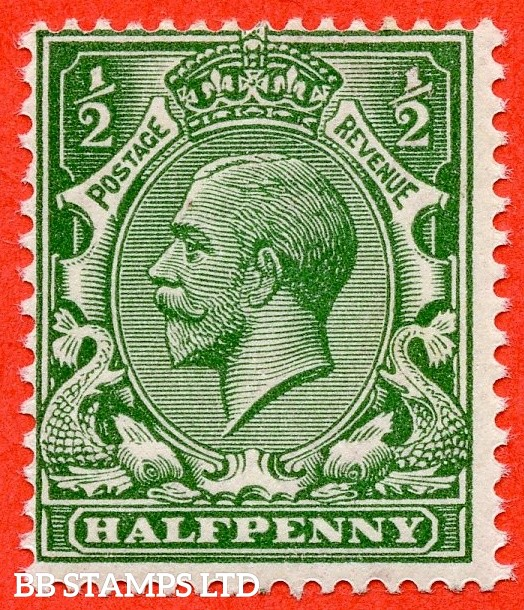 SG. 353 variety N14 (UNLISTED). ½d deep dull green. A mounted mint example of this known but unlisted by SG George V shade variety complete with hendon certificate.