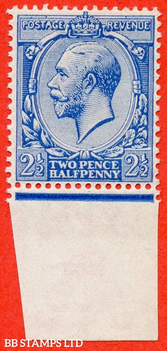 "SG. 371a variety N21 (UNLISTED). 2½d "" CHINA BLUE "". Also known as MILKY ( CHALKY ) BLUE. An UNMOUNTED MINT bottom marginal example of this RARE UNLISTED George V shade. A RARE stamp with HENDON certificate."
