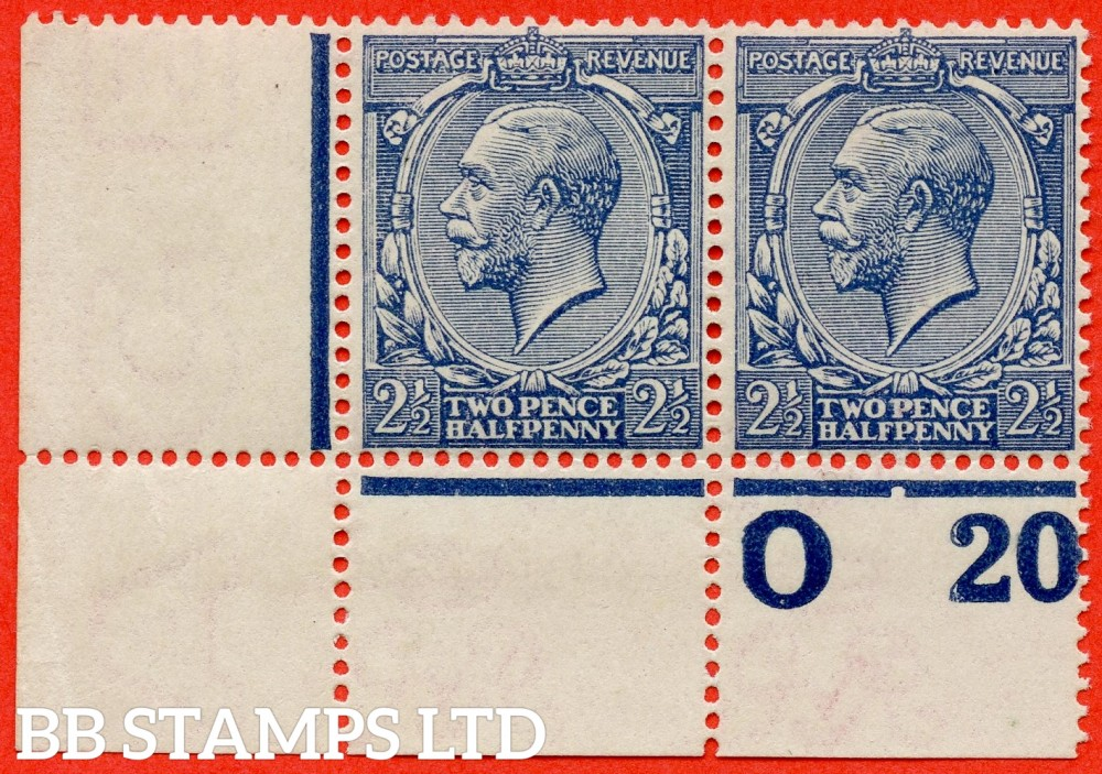 """SG. 373a. N21 (17). 2½d Dull Prussian Blue. A superb UNMOUNTED MINT control """" 020 perf """" bottom left hand corner marginal horizontal pair complete with RPS certificate."""